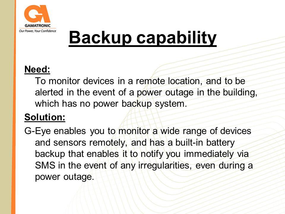 Backup capability