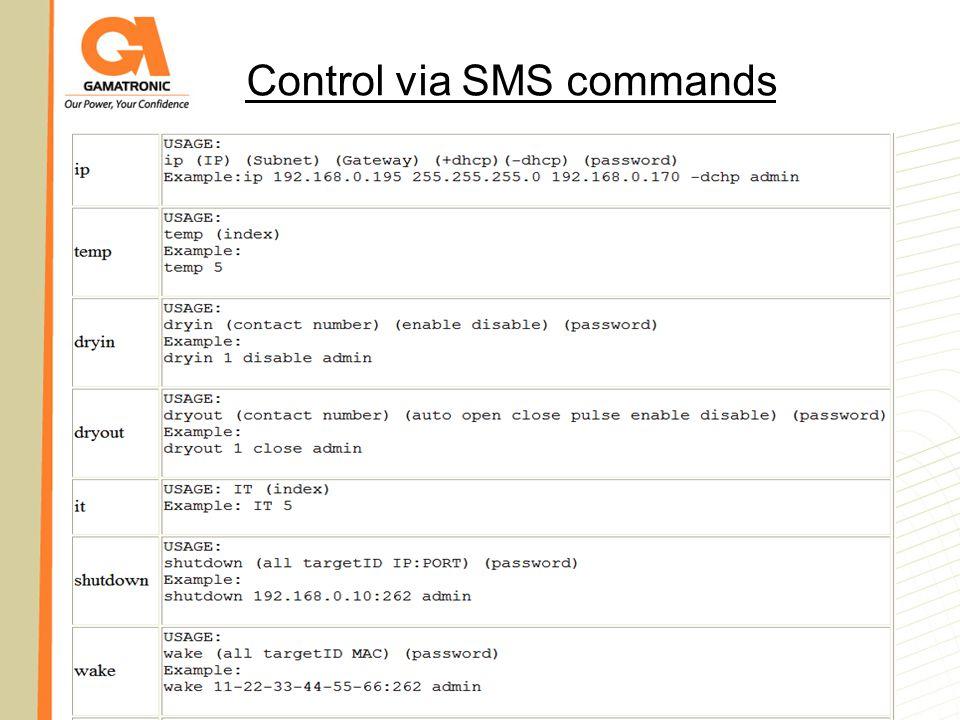 Control via SMS commands