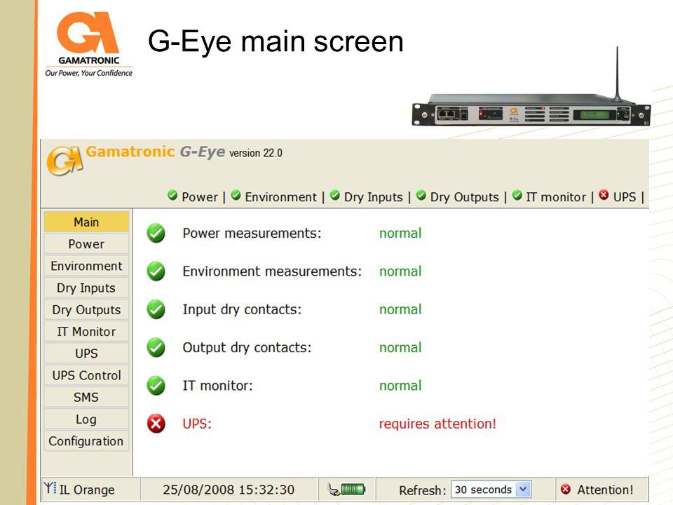 G-Eye main screen G-Eye main screen