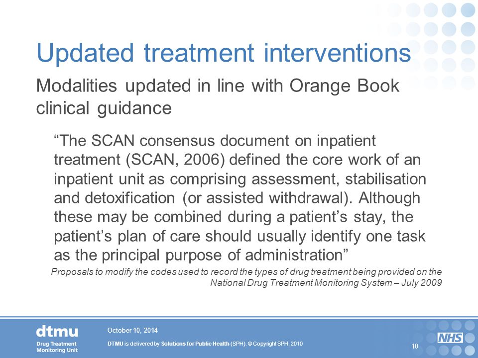 Updated treatment interventions