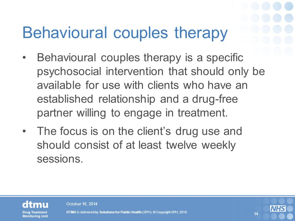 Behavioural couples therapy