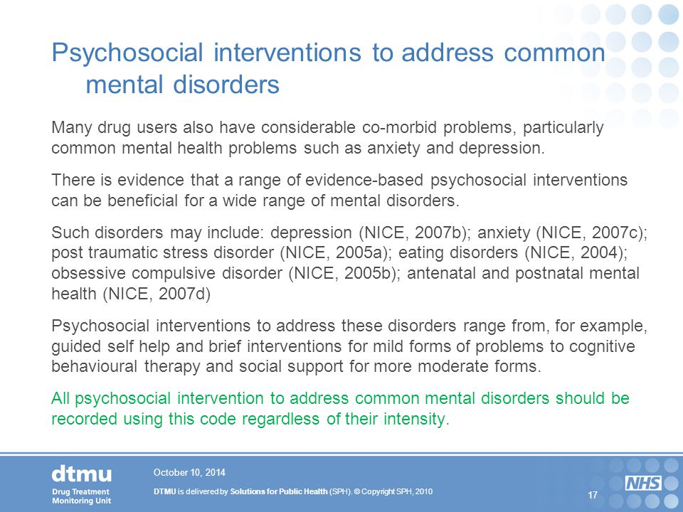 Psychosocial interventions to address common mental disorders