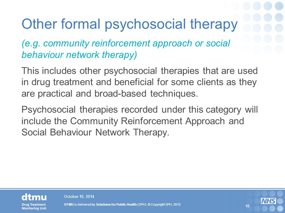 Other formal psychosocial therapy