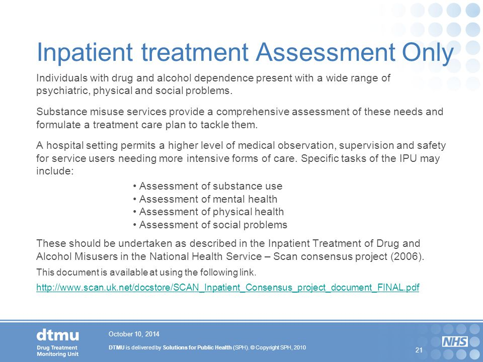 Inpatient treatment Assessment Only