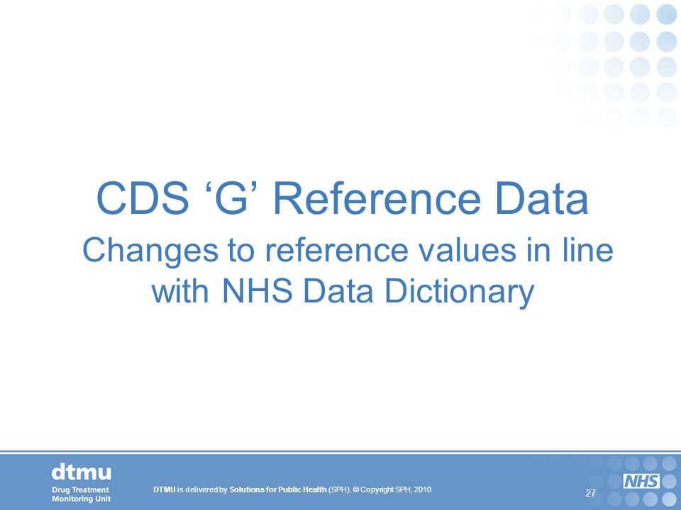 CDS 'G' Reference Data Changes to reference values in line with NHS Data Dictionary