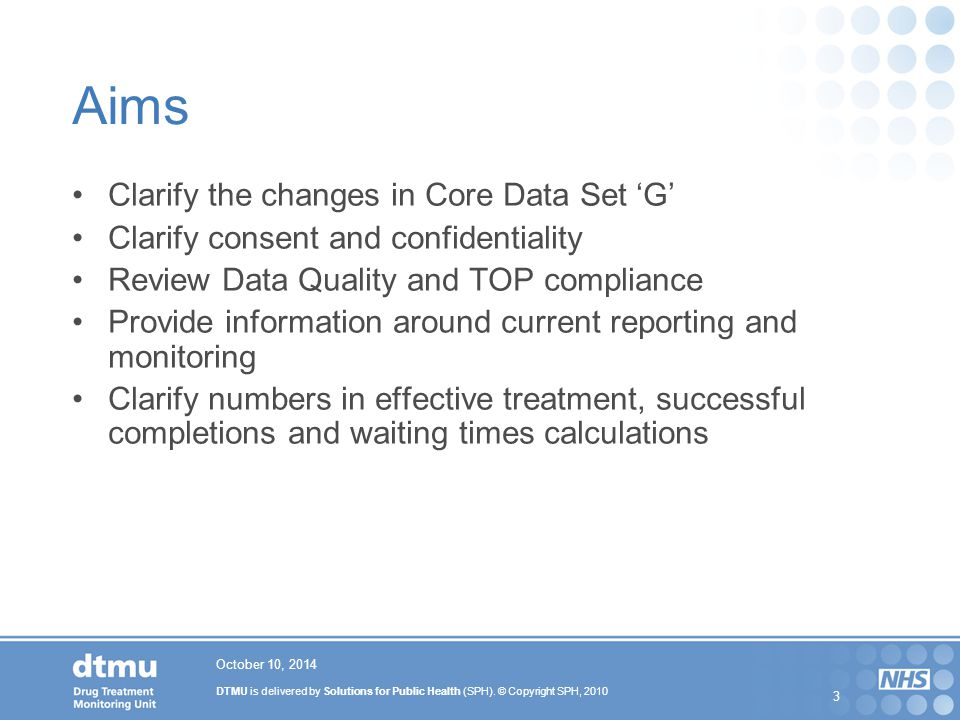 Aims Clarify the changes in Core Data Set 'G'
