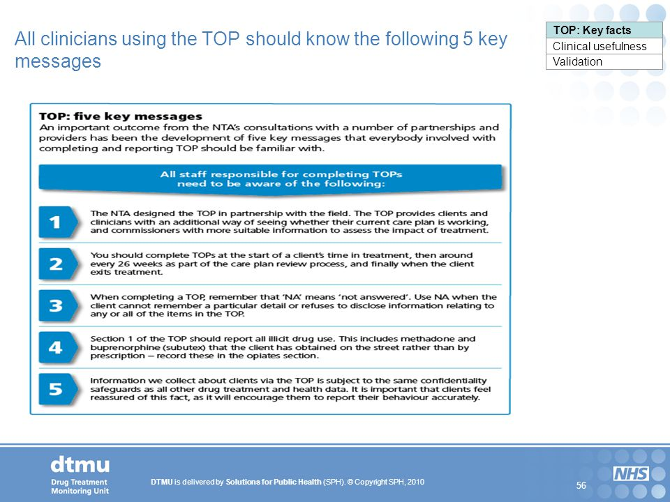 All clinicians using the TOP should know the following 5 key messages