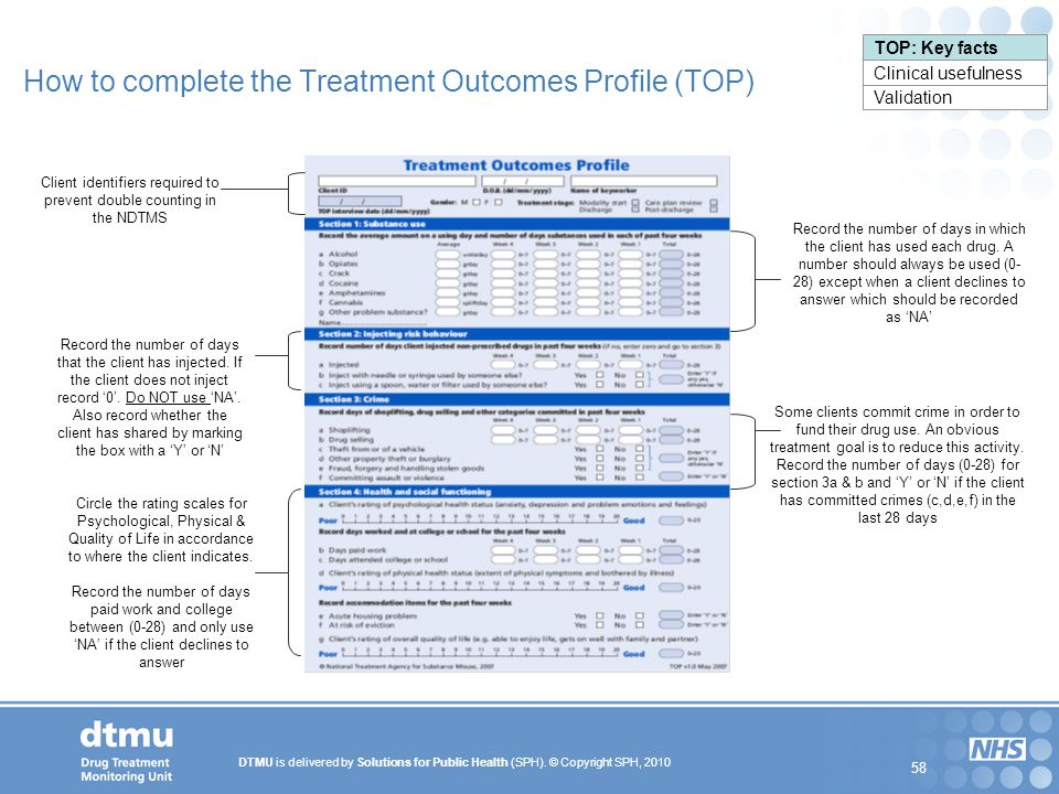 How to complete the Treatment Outcomes Profile (TOP)