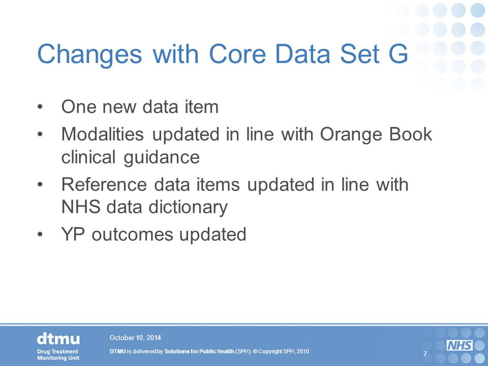 Changes with Core Data Set G