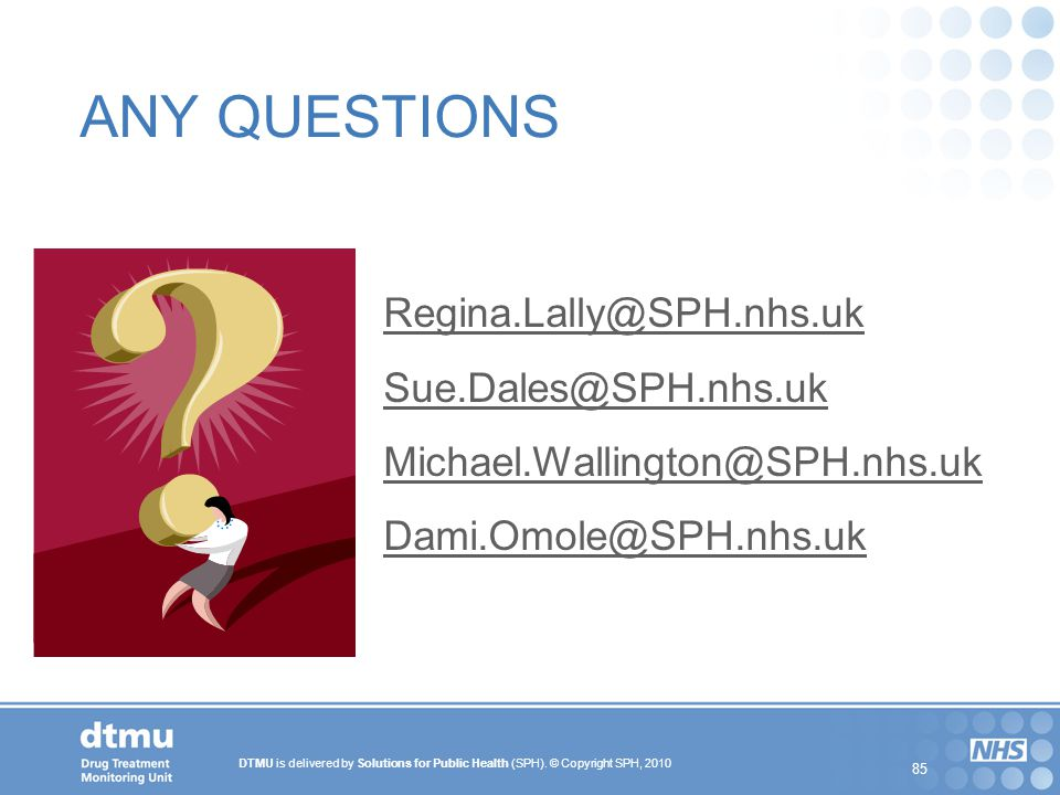 ANY QUESTIONS Regina.Lally@SPH.nhs.uk Sue.Dales@SPH.nhs.uk
