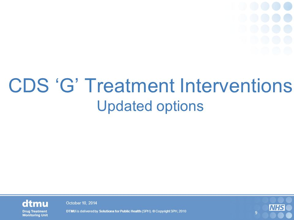 CDS 'G' Treatment Interventions Updated options