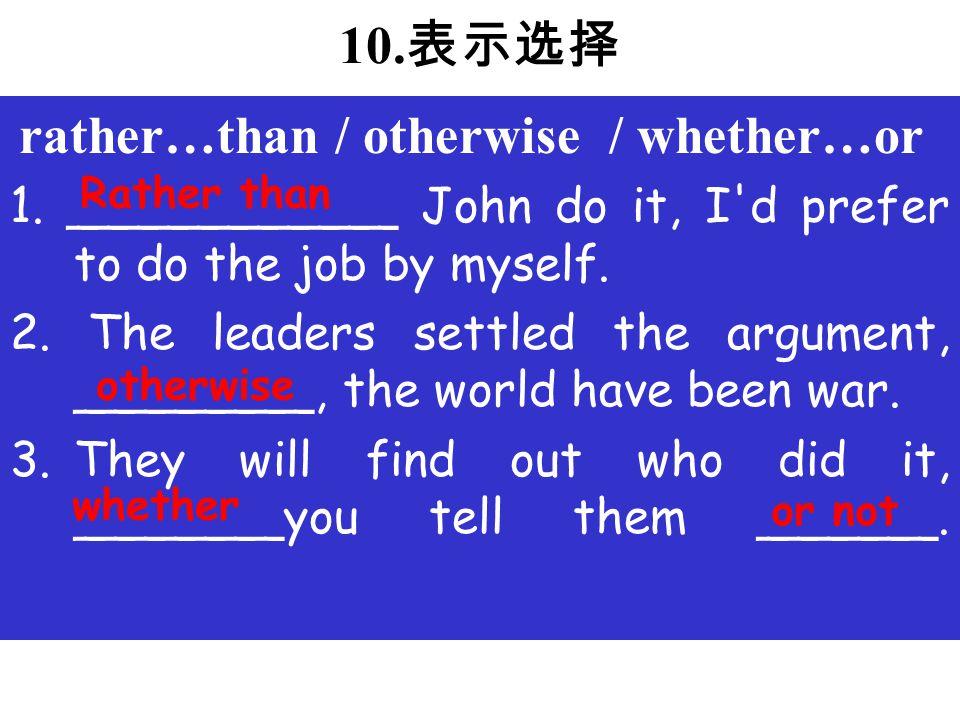 10.表示选择 1. ___________ John do it, I d prefer to do the job by myself.
