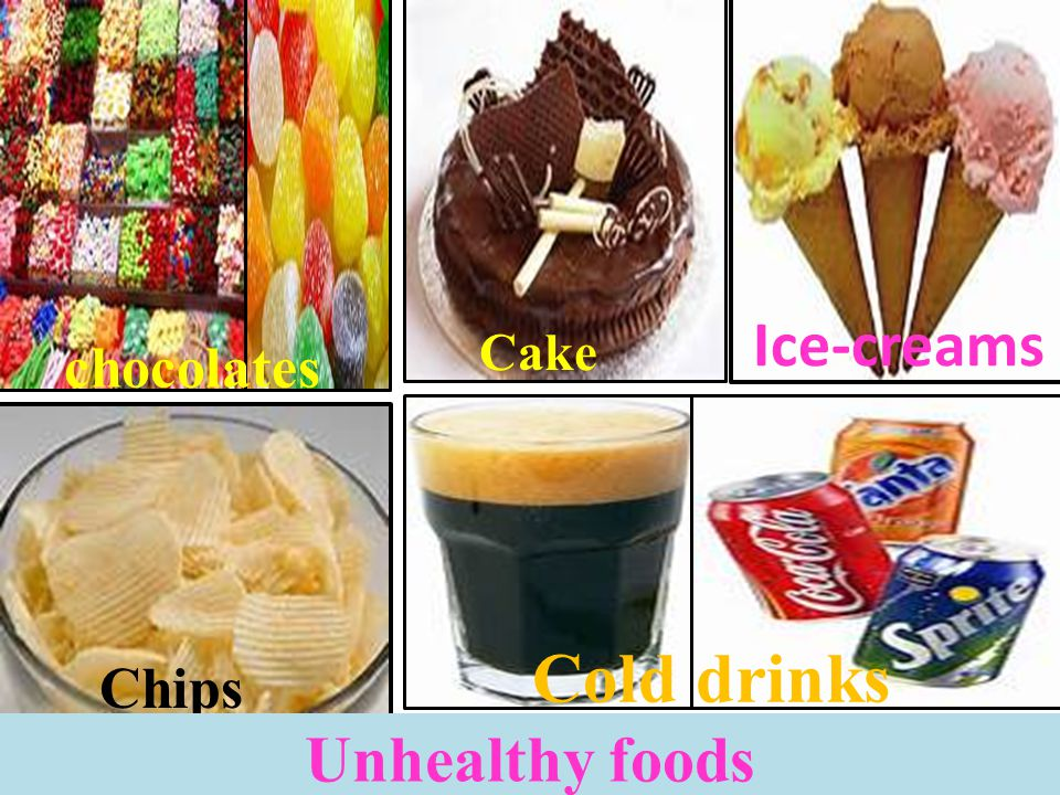 Ice-creams Cake chocolates Cold drinks Chips Unhealthy foods