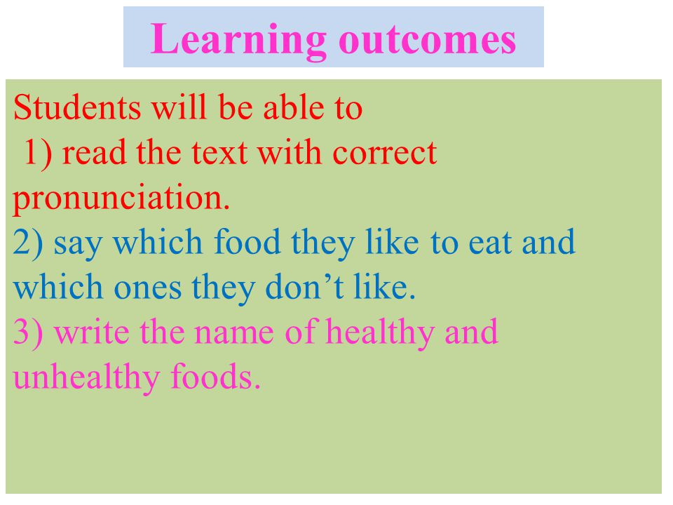 Learning outcomes Learning outcomes