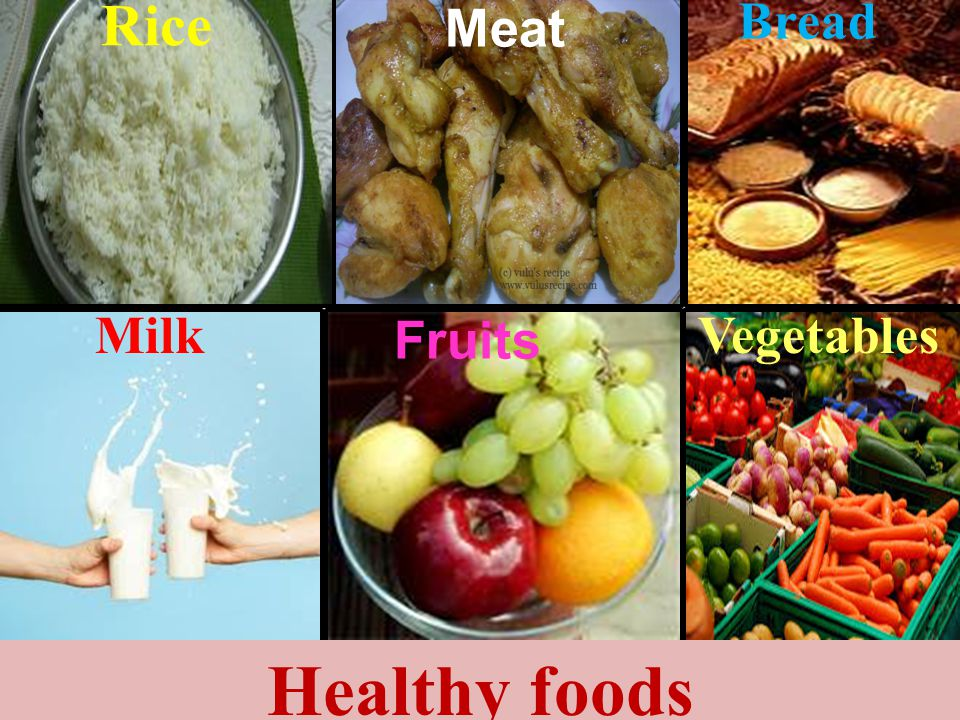 Rice Bread Meat Milk Fruits Vegetables Healthy foods