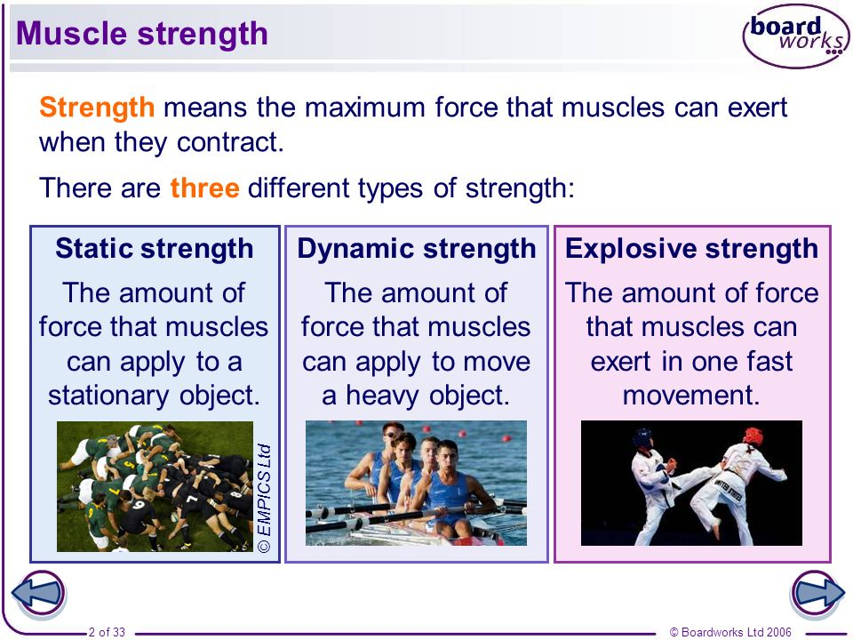 Muscle strength Strength means the maximum force that muscles can exert when they contract. There are three different types of strength: