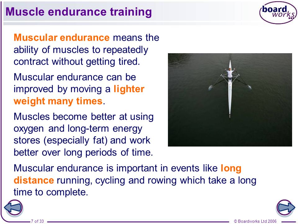 Muscle endurance training