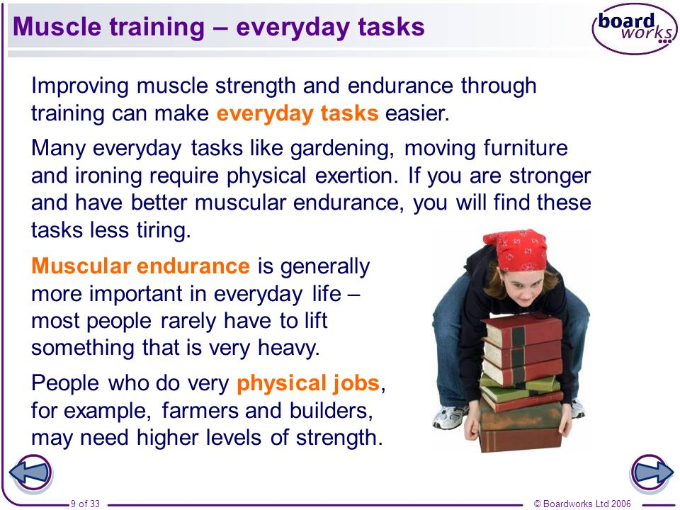 Muscle training – everyday tasks