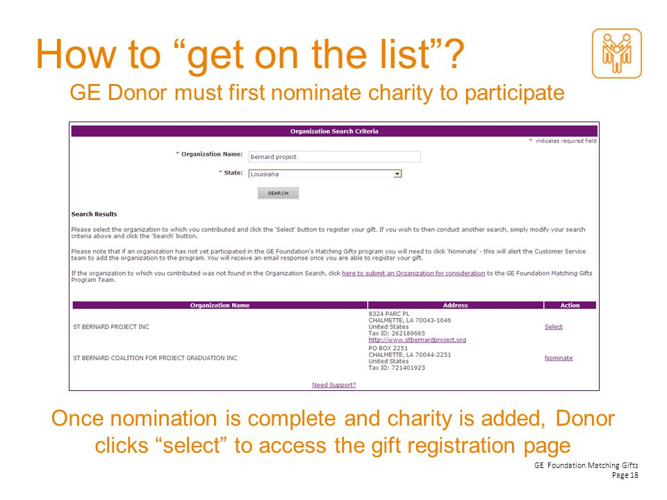 How to get on the list GE Donor must first nominate charity to participate.
