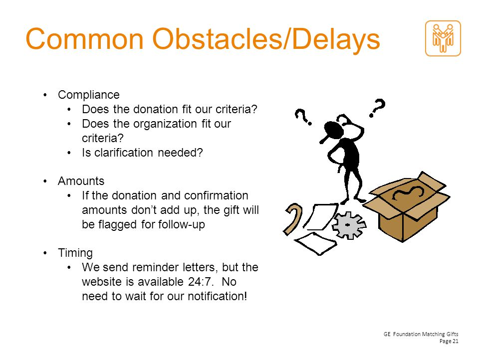 Common Obstacles/Delays