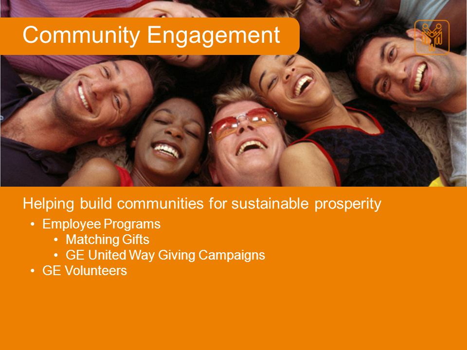 Community Engagement Helping build communities for sustainable prosperity. Employee Programs. Matching Gifts.