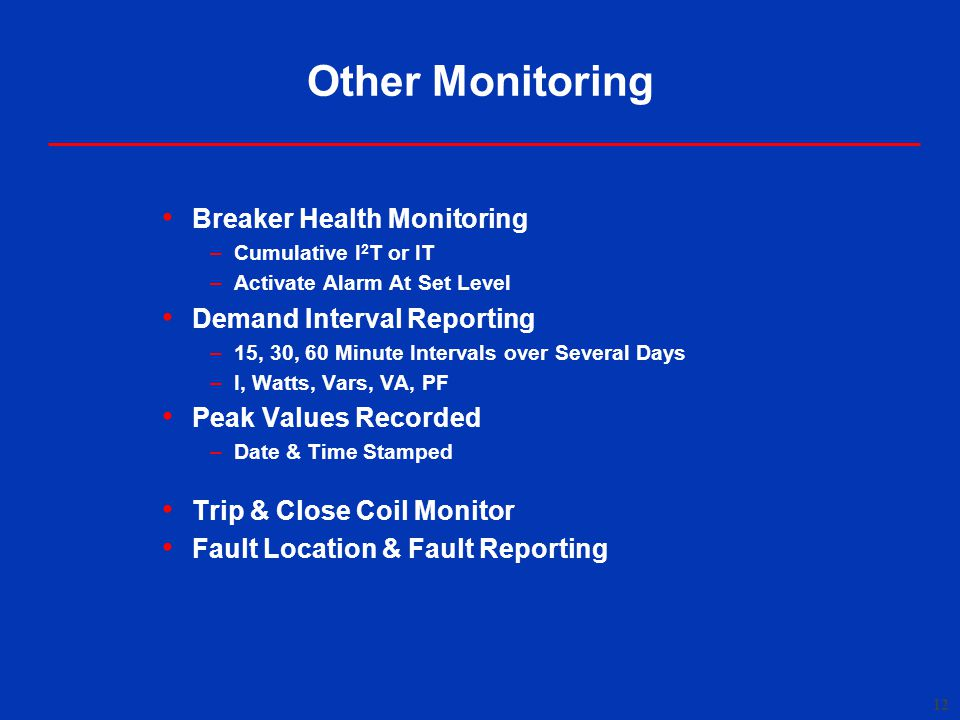 Other Monitoring Breaker Health Monitoring Demand Interval Reporting