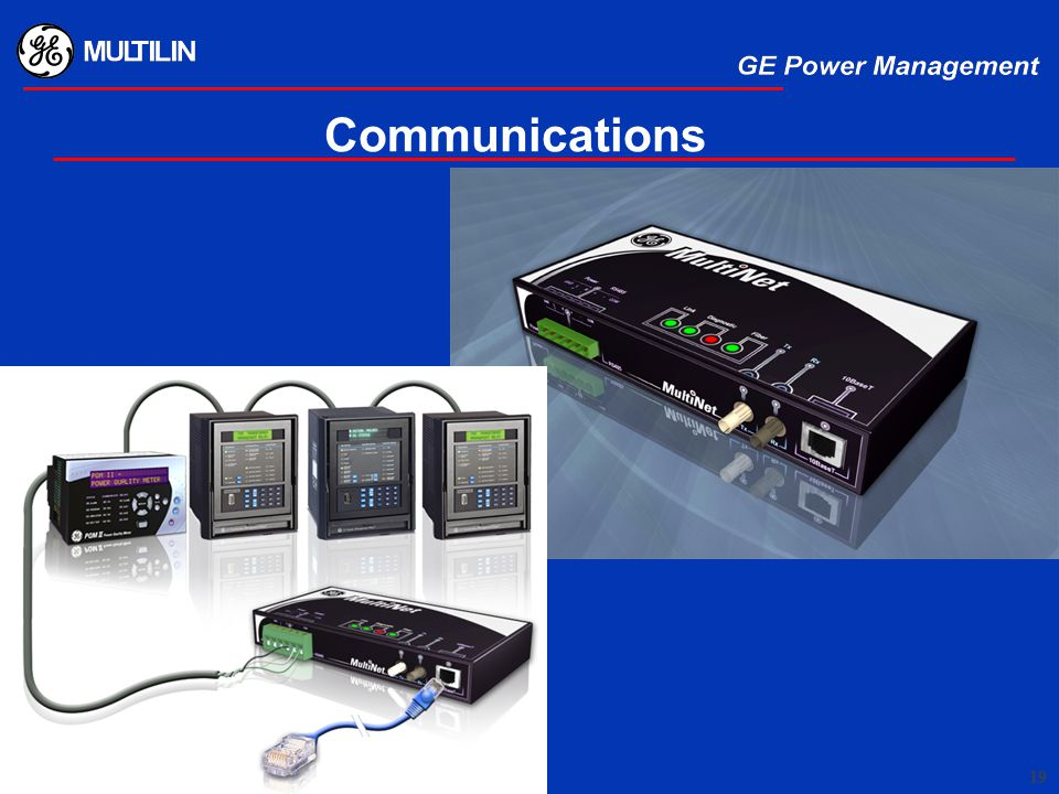 Communications You can tie to a PLC. We can tell you the modbus card for each manufacturer.