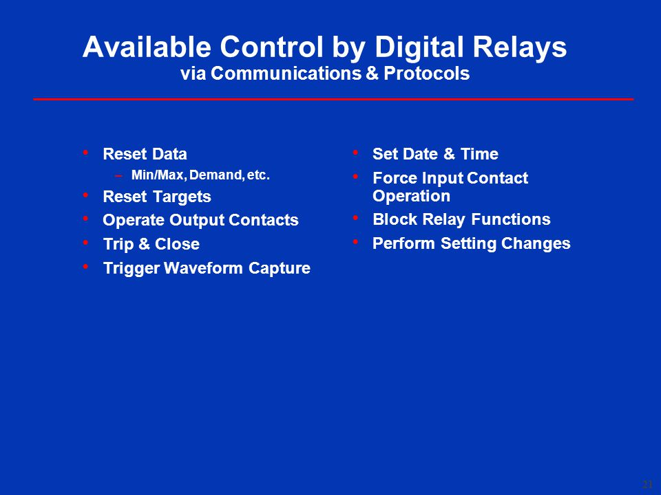 Available Control by Digital Relays via Communications & Protocols