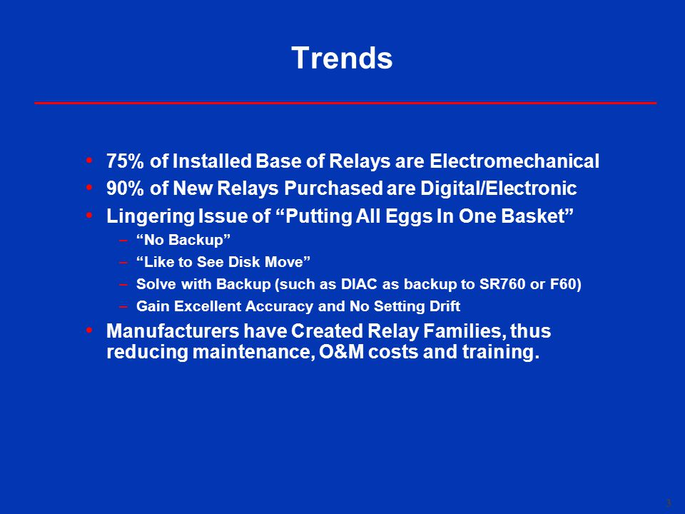 Trends 75% of Installed Base of Relays are Electromechanical