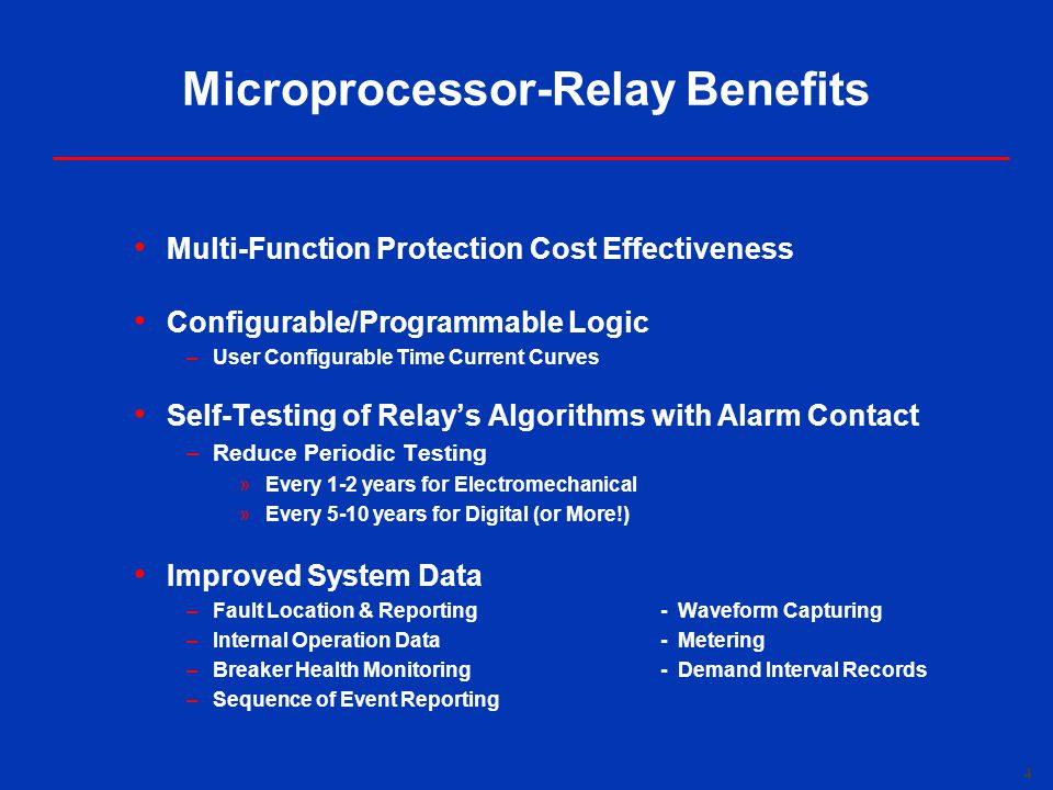 Microprocessor-Relay Benefits