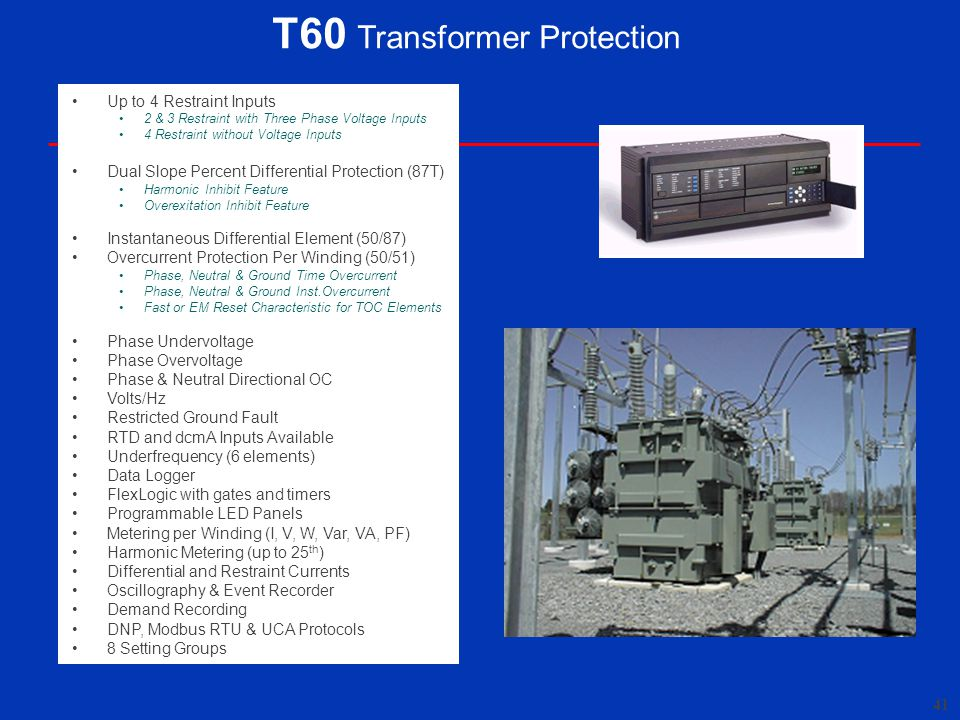 T60 Transformer Protection