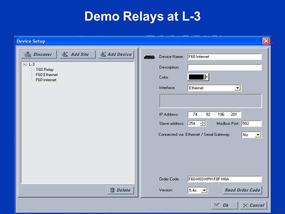 Demo Relays at L-3