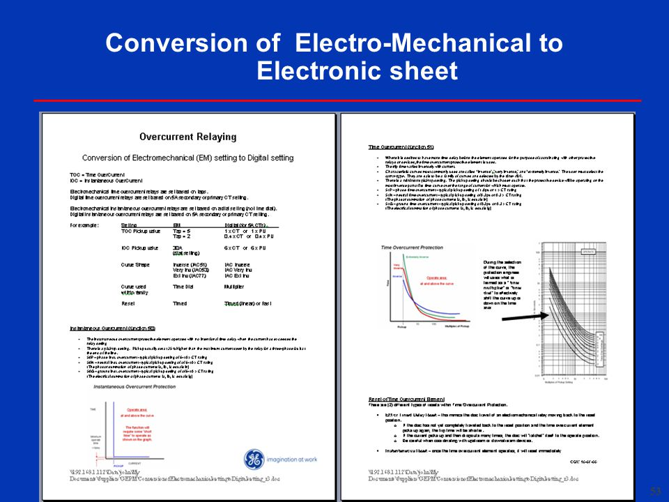 Conversion of Electro-Mechanical to Electronic sheet