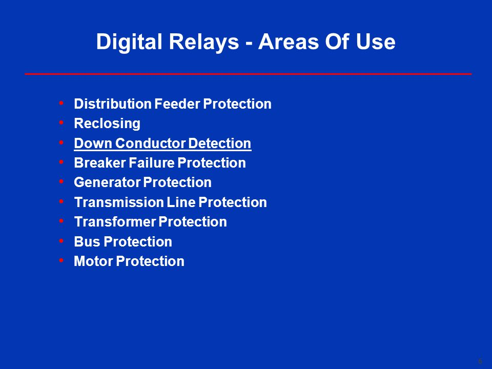Digital Relays - Areas Of Use