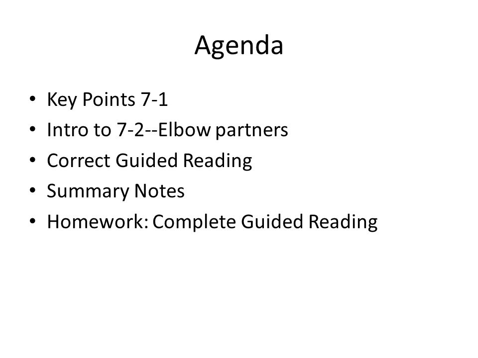 Agenda Key Points 7-1 Intro to 7-2--Elbow partners