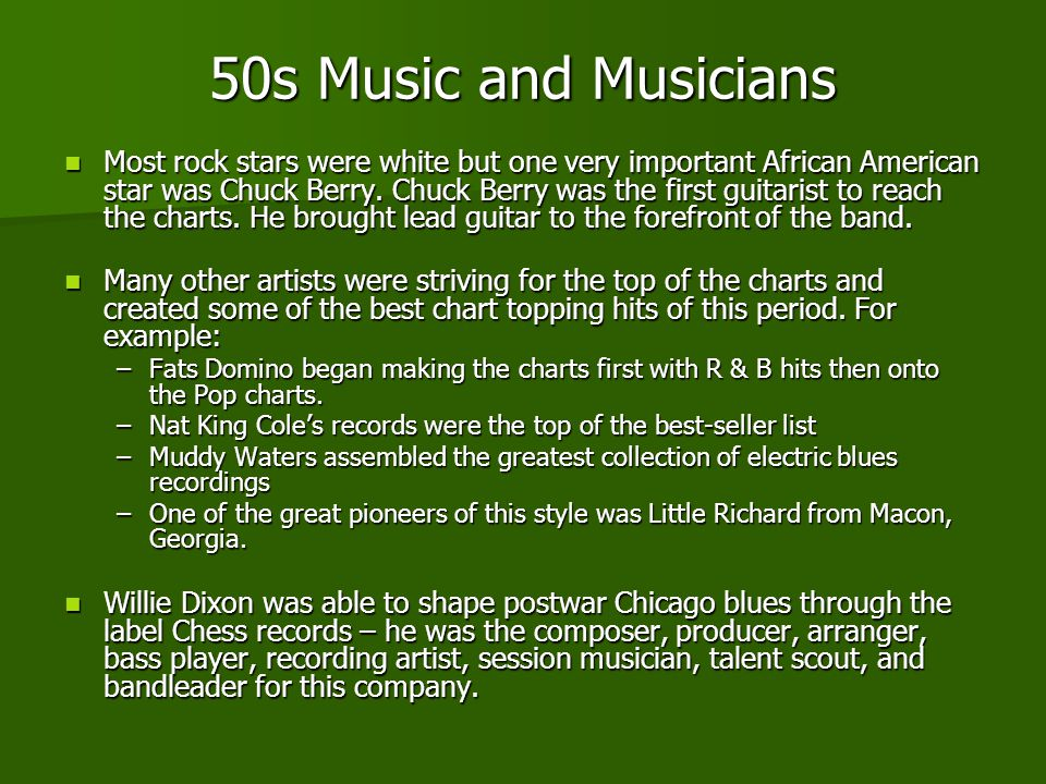 50s Music and Musicians