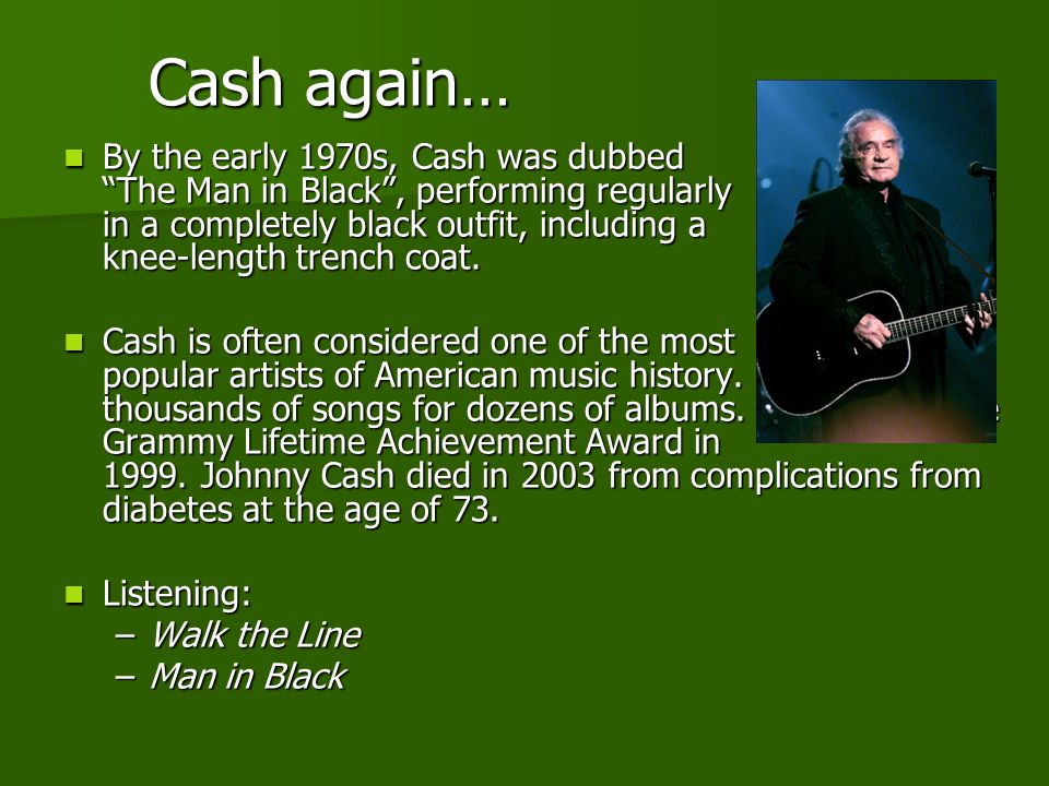 Cash again…