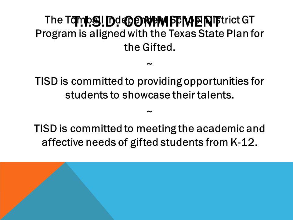 T.I.S.D. COMMITMENT
