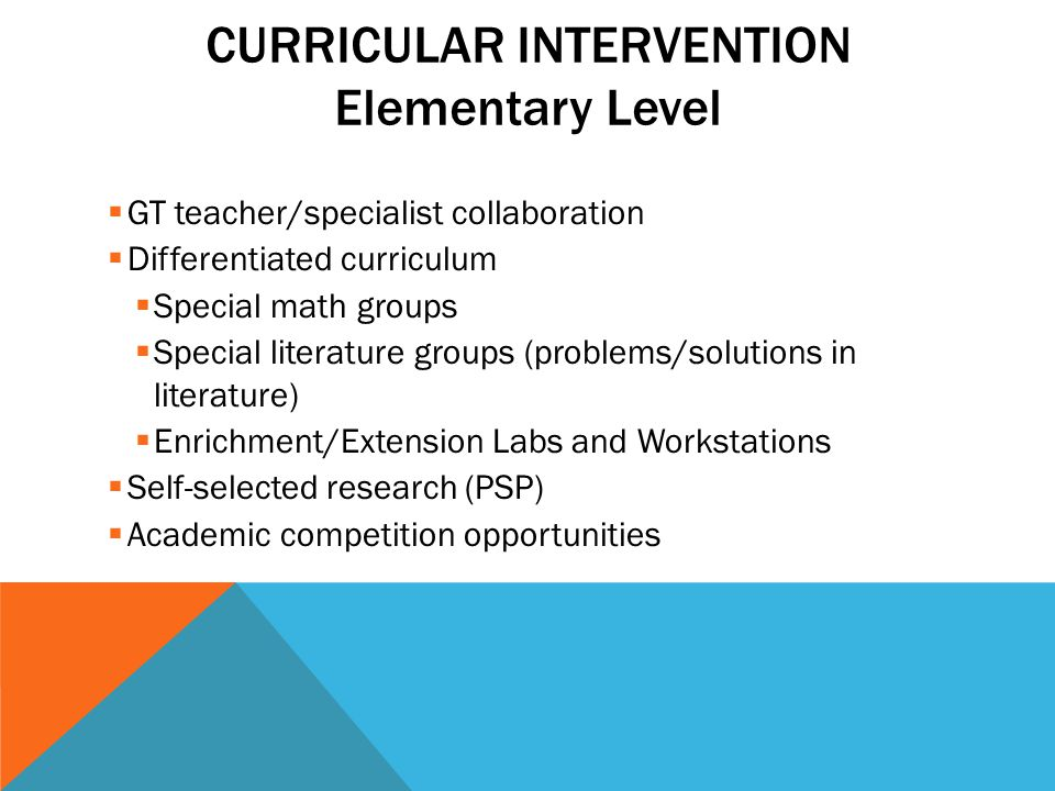 CURRICULAR INTERVENTION Elementary Level