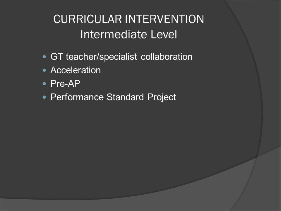 CURRICULAR INTERVENTION Intermediate Level