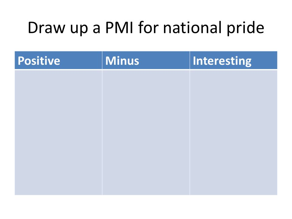 Draw up a PMI for national pride