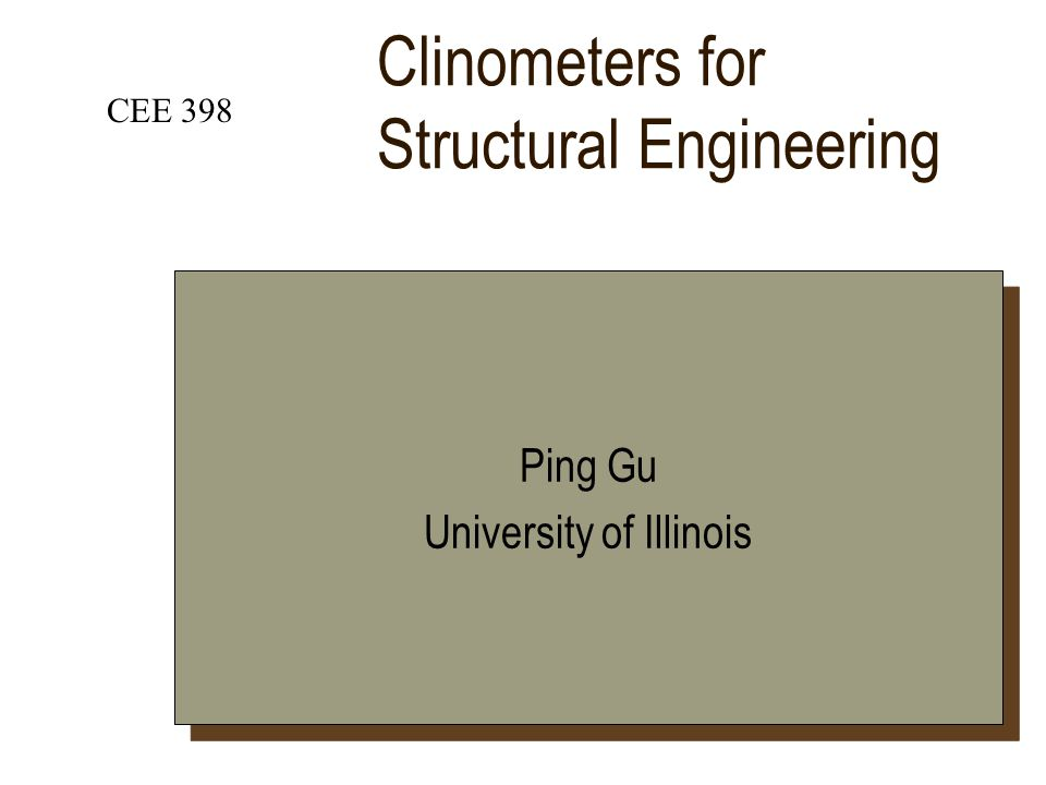 Clinometers for Structural Engineering