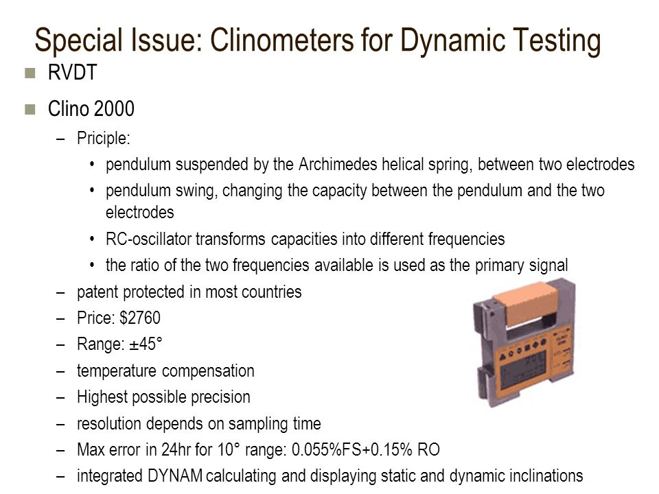 Special Issue: Clinometers for Dynamic Testing