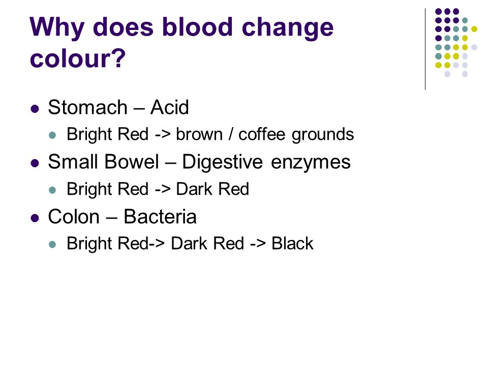 Why does blood change colour