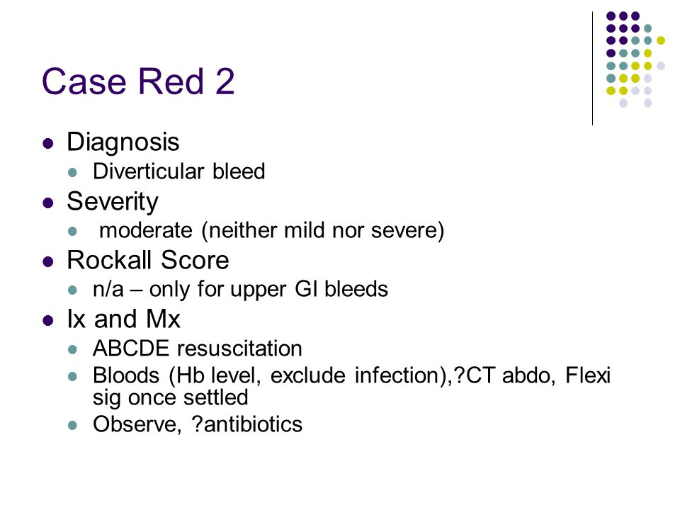 Case Red 2 Diagnosis Severity Rockall Score Ix and Mx