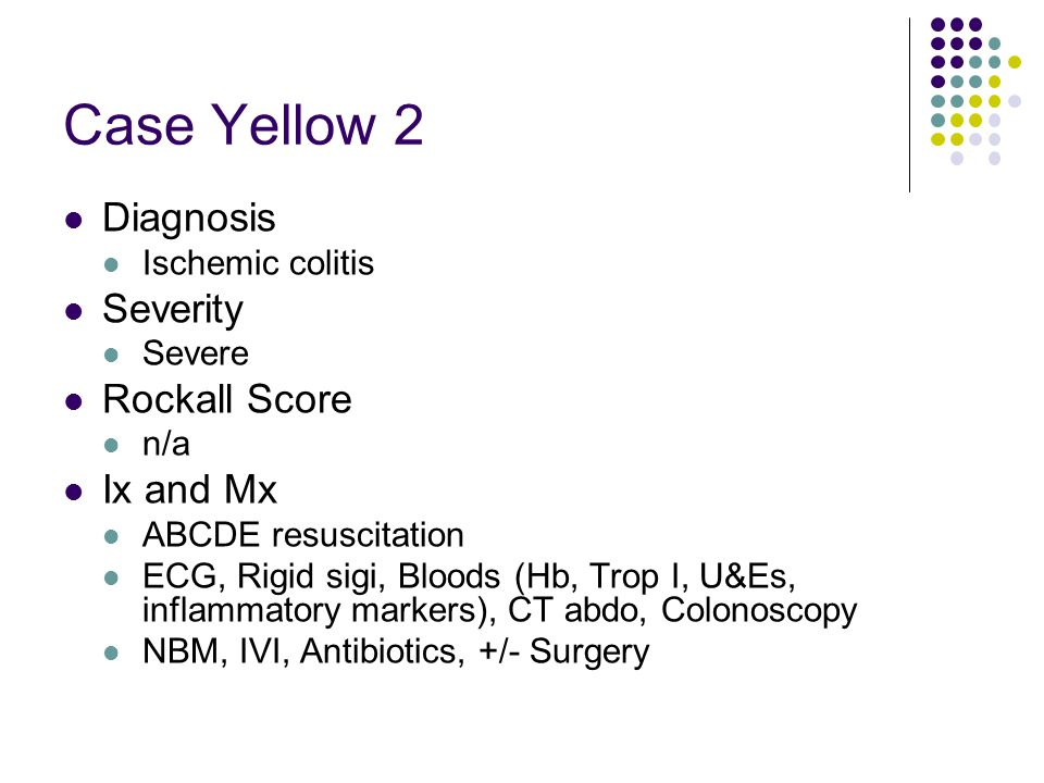 Case Yellow 2 Diagnosis Severity Rockall Score Ix and Mx
