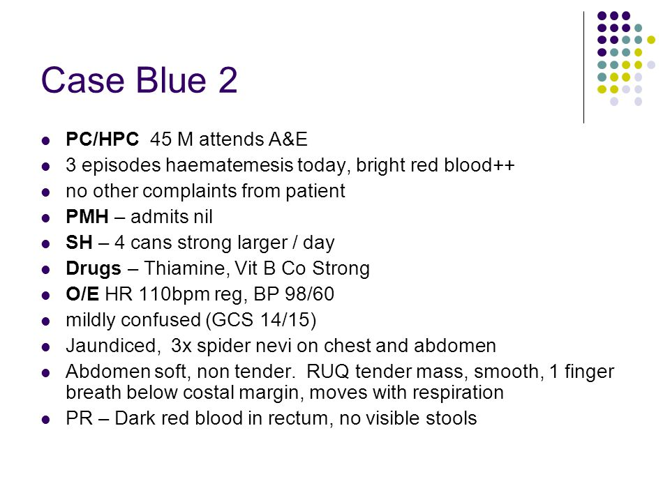 Case Blue 2 PC/HPC 45 M attends A&E