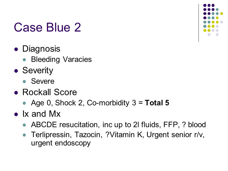 Case Blue 2 Diagnosis Severity Rockall Score Ix and Mx