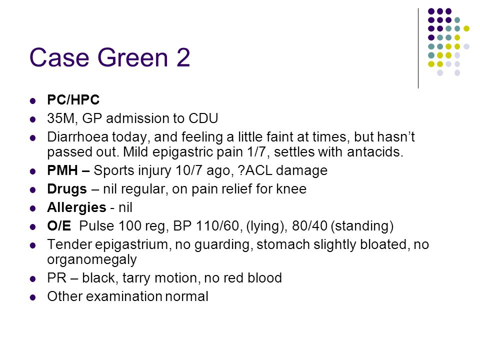 Case Green 2 PC/HPC 35M, GP admission to CDU