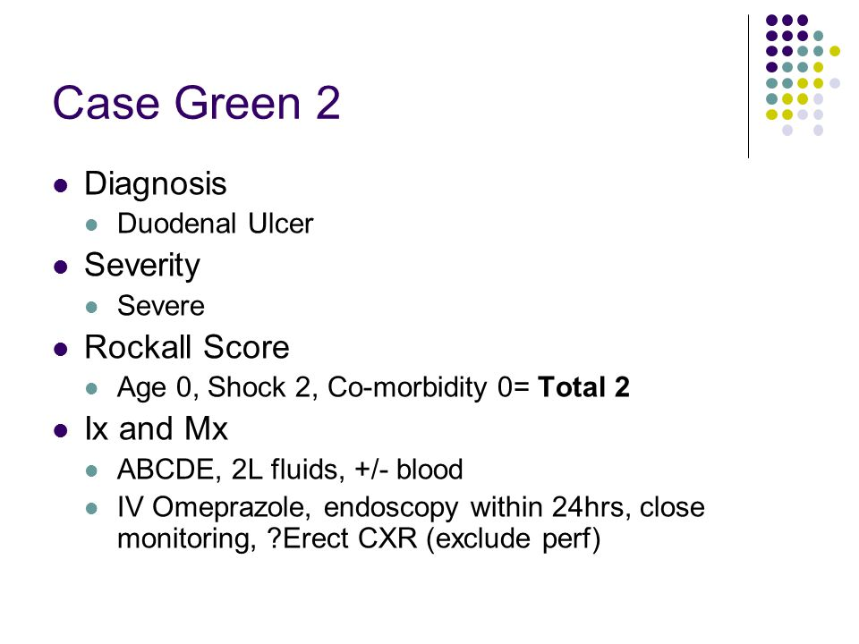 Case Green 2 Diagnosis Severity Rockall Score Ix and Mx Duodenal Ulcer